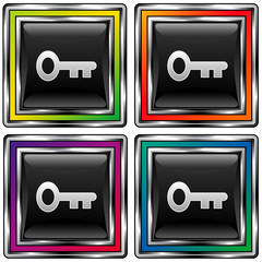 Square vector button with skeleton key icon on dark background