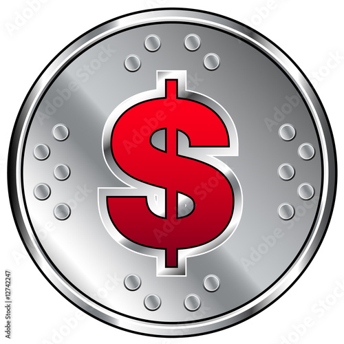 Round industrial vector icon with dollar currency icon