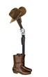 Cowboy boots rifle & hat