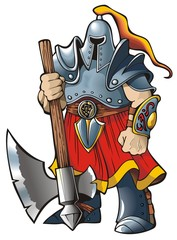 Knight with an axe, vector illustration