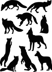 fox and wolf silhouettes