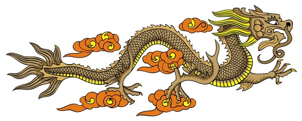 Chinese dragon, flying in the sky, symbol of power and might
