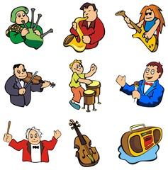 Set of musicians and music related objects, cartoon vector