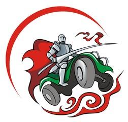 Knight saddling quadrocycle, vector illustration