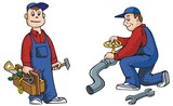 Two pictures of working plumber with tools, cartoon vector poster