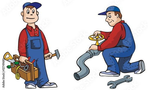 poster of Two pictures of working plumber with tools, cartoon vector
