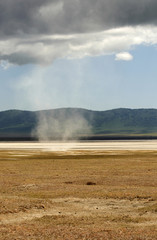 Ngorongoro Conservation Area in old crater, tornado