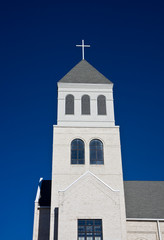 Light Grey Church on Deep Blue Sky