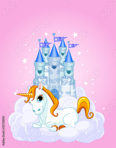 Spoed canvasdoek 2cm dik Pony Castle and Unicorn