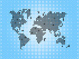 World pixel map on blue background poster
