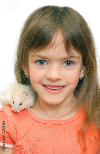 child and white hamster