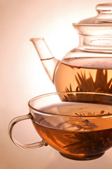 Glass teapot and cup