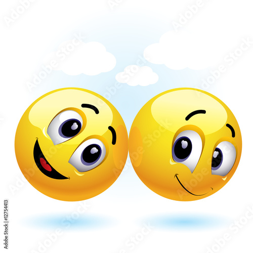 two smiling balls having fun and enjoying each others company