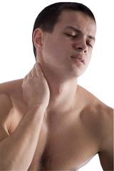Sporty Man Holding Pain Neck Isolated on White  Background