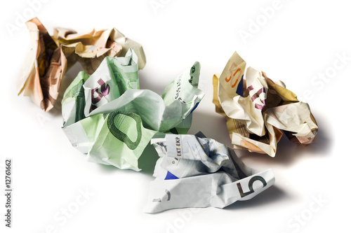 crumpled european currency bills