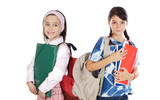 Two girls students returning to school poster