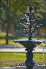 Fountain with running water in Austin city park