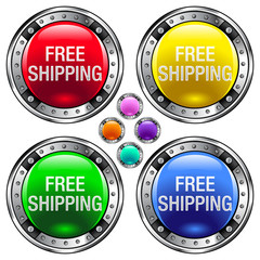 Free Shipping icon on round vector button set