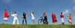 Leinwanddruck Bild - group of diverse kids at sports summer camp
