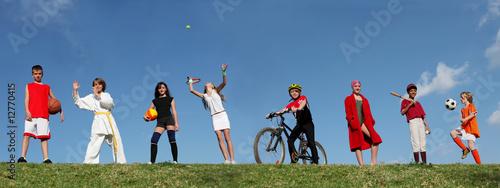 Leinwanddruck Bild group of diverse kids at sports summer camp