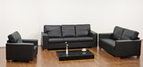 A modern minimalist living-room with black furniture poster