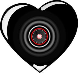 vector black loudspeaker heart