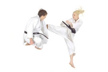 practicing Karate