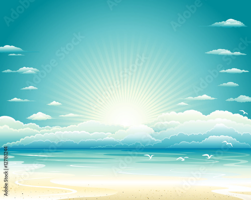 Ocean landscape, Vector illustration layered.