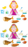 Shop girl and foodstuffs poster