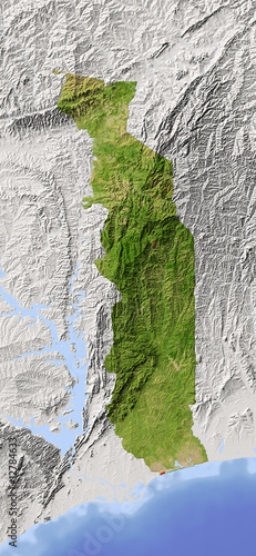 Togo, shaded relief map, colored for vegetation