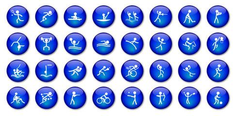 "Boutons ""Sports"" (x32 - bleu)"