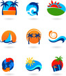collection of travel icons and logos