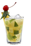 Fresh pineapple cocktail and cherries