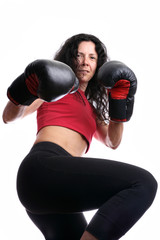 Woma with boxing gloves isolated in white