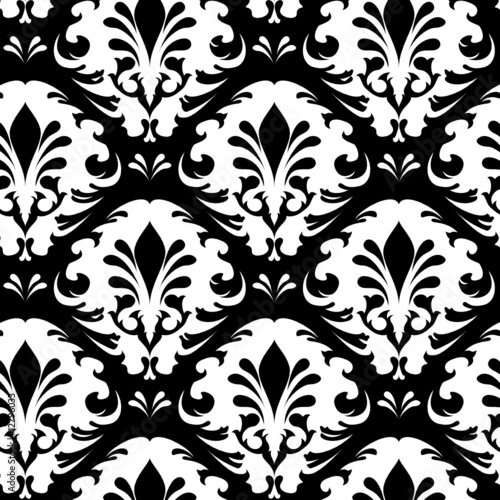 Illustration of a black and white vintage floral pattern