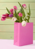 tulips in shopping bag