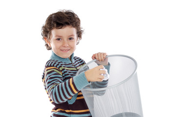 Boy with wastebasket