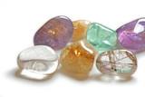close up of beautiful healing crystals