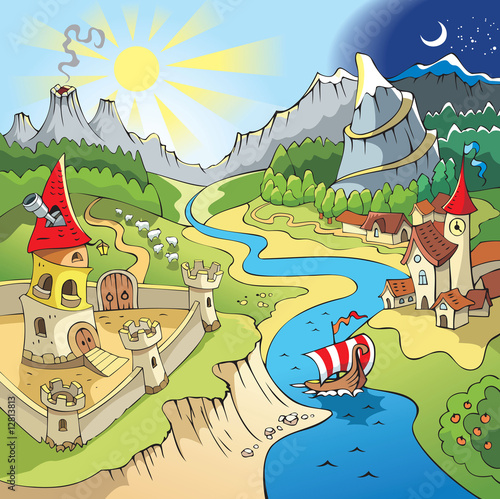 Fairy tale landscape, wonder land, castle and town, cartoon