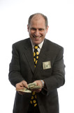 man with large wad cash money excited happy lottery banker poster