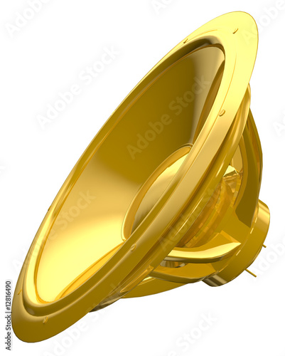 golden speaker isolated on white