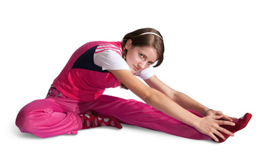 girl in pink sportswear exercising