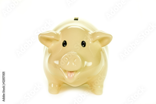 Piggy bank with work path against a white background.