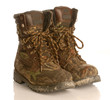 camouflage hunting boots isolated on white background