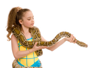 close-up of sweet girl with pet python