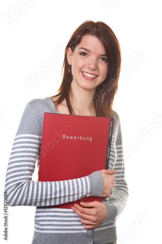 Frau mit Bewerbungs Mappe für Einstellungsgespräch