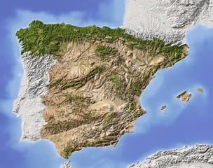Spain, shaded relief map, colored for vegetation