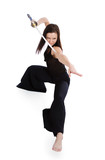 Beautiful woman in an aggressive posture with a sword poster