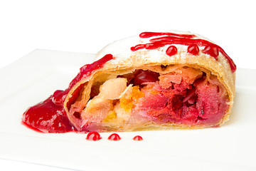 strudel with jam decoration closeup