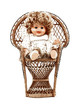 A small angelic doll seated in the wicker chair.